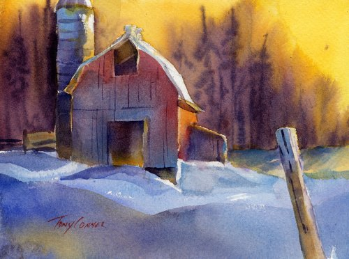 March 2010 tony conner artists blog for Watercolor barn paintings