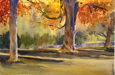 """Under The Canopy"" - plein air watercolor landscape by Tony Conner"