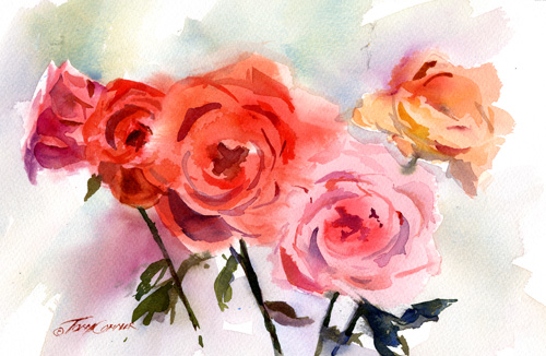Watercolor floral painting tony conner artists blog for How to paint a rose watercolor